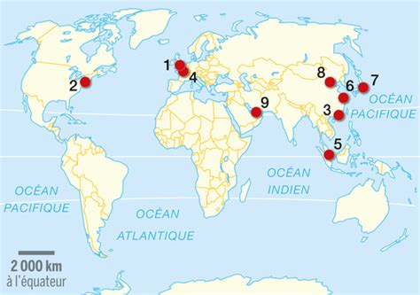 Carte Du Monde Villes Mondiales by Les Principales M 233 Tropoles Mondiales