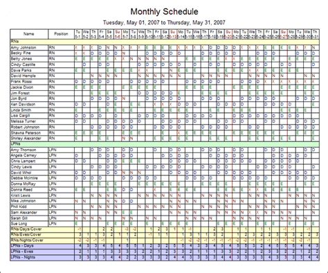 monthly employee schedule template excel planner