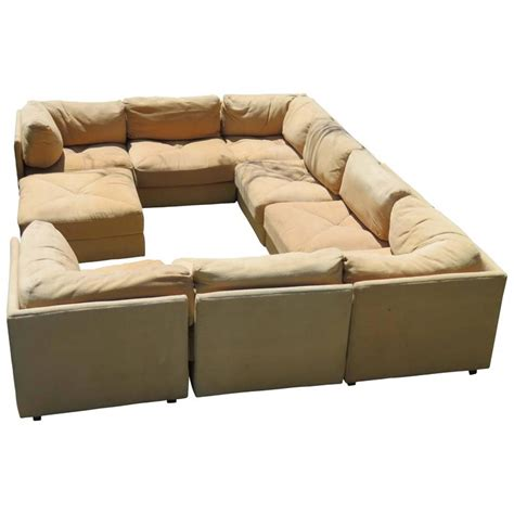 Pit Sofa Furniture by Milo Baughman Style Ten Section Sofa Pit Mid