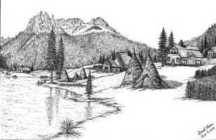 Farm Pencil Drawings