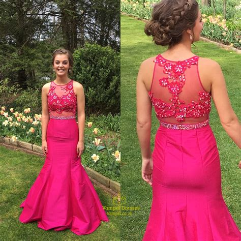 Hot Pink Sheer Illusion Lace Bodice Long Mermaid Prom ...