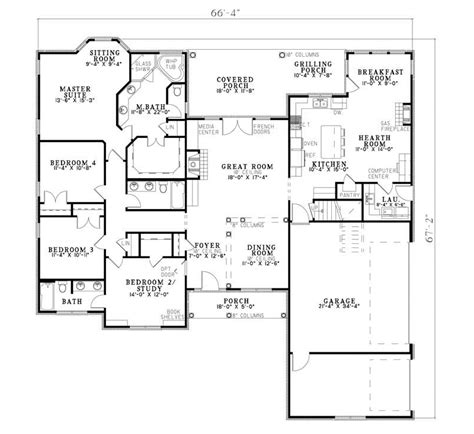 Kitchen Floor Plans With Hearth Room by Salvador Traditional Ranch Home Plan 055d 0683 House