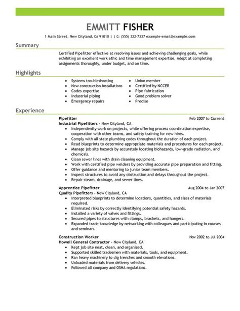 pipefitter resume sle my resume