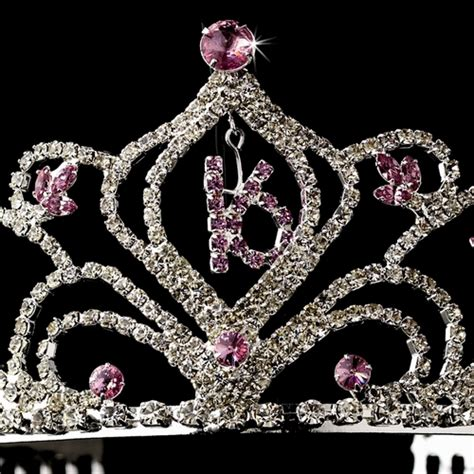 large rhinestone silver covered sweet light amethyst sweet 16 birthday tiara sparkling