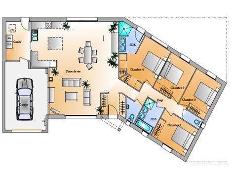 plan maison 100m2 4 chambres plan maison v 4 chambres