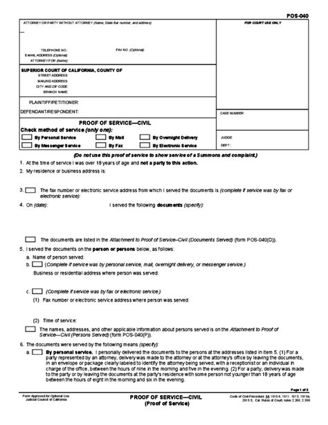 proof of service template sample form for proof of service free 24146   sample form for proof of service l1
