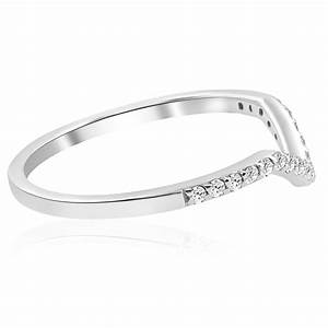 15ct Diamond Curved V Shape Wedding Ring Womens Stackable