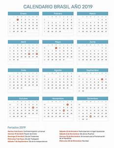 Calendario de Brasil con feriados nacionales año 2019