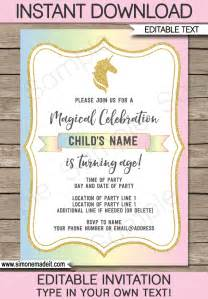 Free Printable Unicorn Birthday Invitations Templates