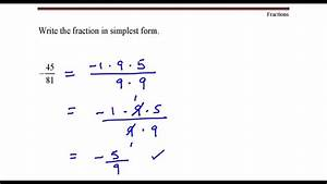Write The Fraction In Simplest Form  45 Divided By 81