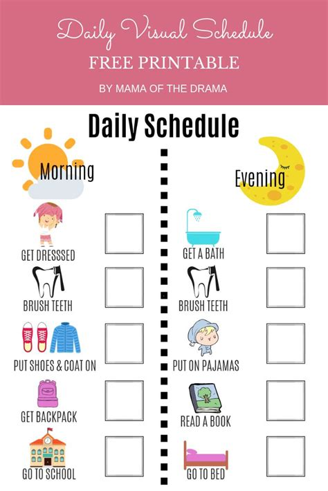 Visual Daily Schedule Free Printable   Mama of the Drama ...