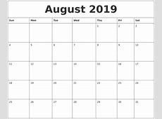 August 2019 Calendar Cute monthly printable calendar
