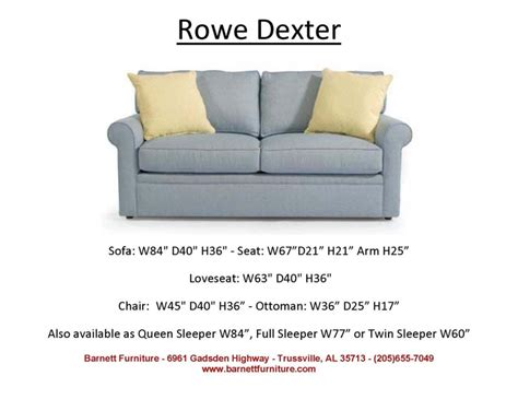 rowe dexter sofa you choose the fabric average size