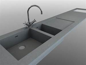 evier beton integre au plan de travail en beton balian With plan de travail cuisine avec evier integre