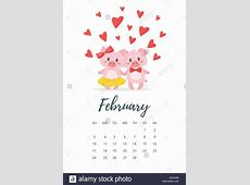 Vector cartoon style illustration of February 2019 year calendar page with cute pig couple in