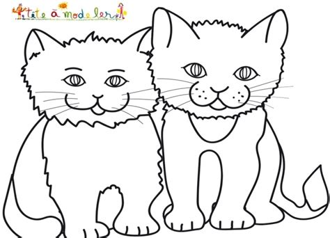 coloriage de deux chats assis coloriage chat sur t 234 te 224 modeler