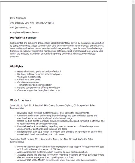 independent sales representative resume template best