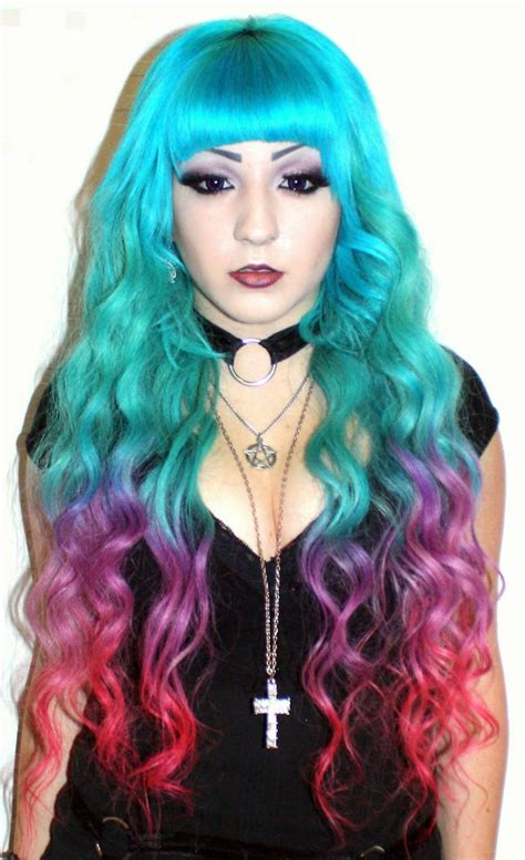Turquoise Blue Purple Red Rainbow Dip Dyed Ombre Hair