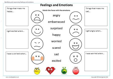 identifying emotions worksheets  adults