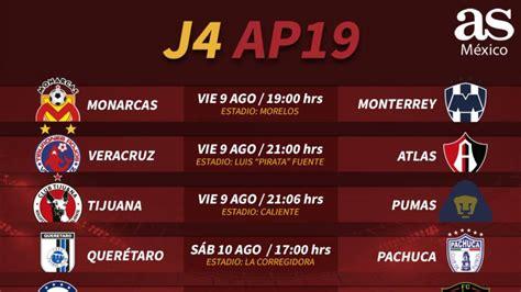 Fechas y horarios de la jornada 4 del Apertura 2019 de la ...