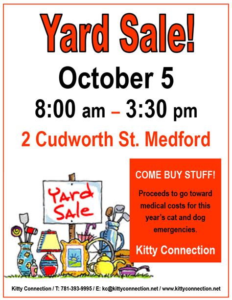 Yard Sale On Oct 5 To Benefit Kitty Connection  Kitty. Small Business Tax Withholding Calculator Template. Simple Job Application Sample Template. Sales Manager Job Description Template. Ms Word Template For Business Cards Template. Microsoft Printable Calendar 2018 Template. Resume Format For Company Internship Template. Free Printable Baby Shower Cards Templates. Win Calendar July 2018 Template
