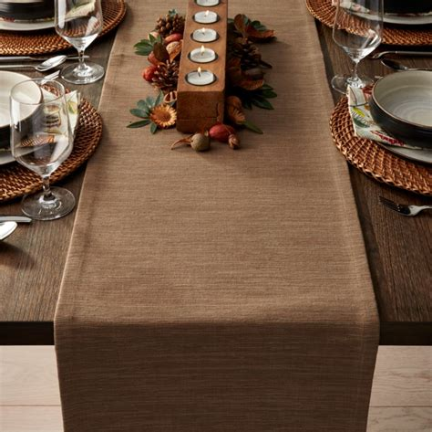 grasscloth  brindle brown table runner crate  barrel