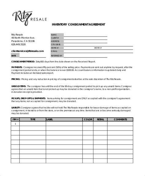 Free Consignment Stock Agreement Template by Sle Consignment Agreement Form 8 Free Documents In Pdf