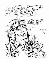 Coloring Veterans Pilot Pages Jet Print Fighter Printables Usa Go sketch template