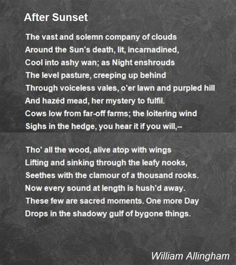 sunset poem  william allingham poem hunter