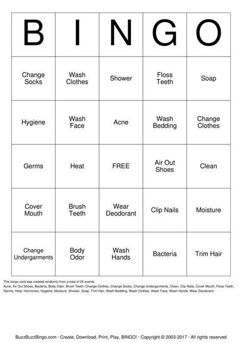 personal hygiene bingo cards   print  customize