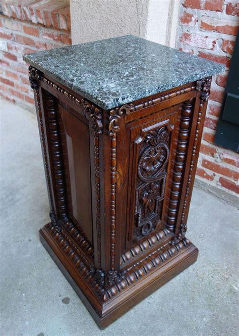 antique french renaissance carved oak pedestal display