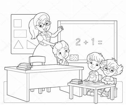 Classroom Coloring Children Illustration Exercises Line Colorful