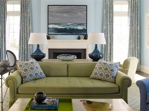 green sofa living room green blue accents home blue