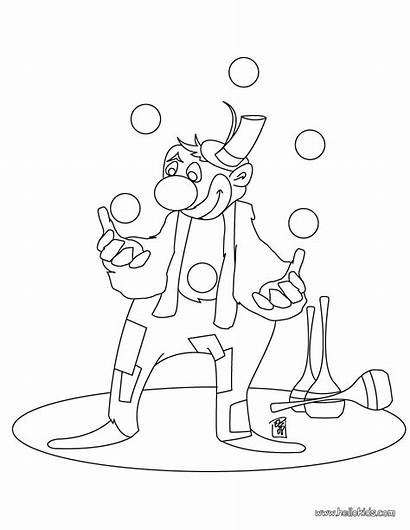 Clown Coloring Circus Printable Juggling Pages Clowns