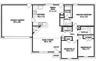3 bedroom 2 bath floor plans one story ranch style house plans one story 3 bedroom 2