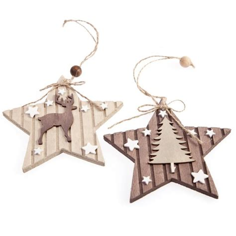 gisela graham christmas set of 2 wooden star hanging