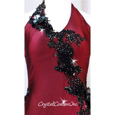 Applique Swarovski by Couture Burgundy Leotard With Black Embroidered