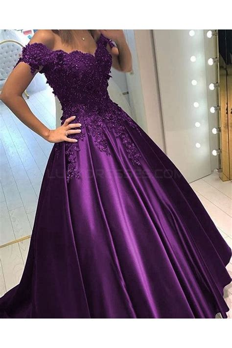 ball gown   shoulder purple long lace prom formal