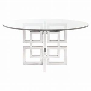 mercer round glass stainless steel dining table kathy With glass and stainless steel dining table