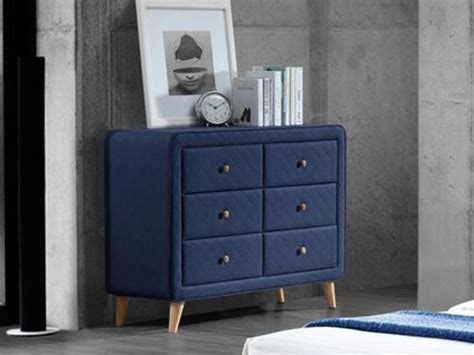 Commode Tissu by Commode Basse Elide 6 Tiroirs Tissu Bleu Style Scandinave
