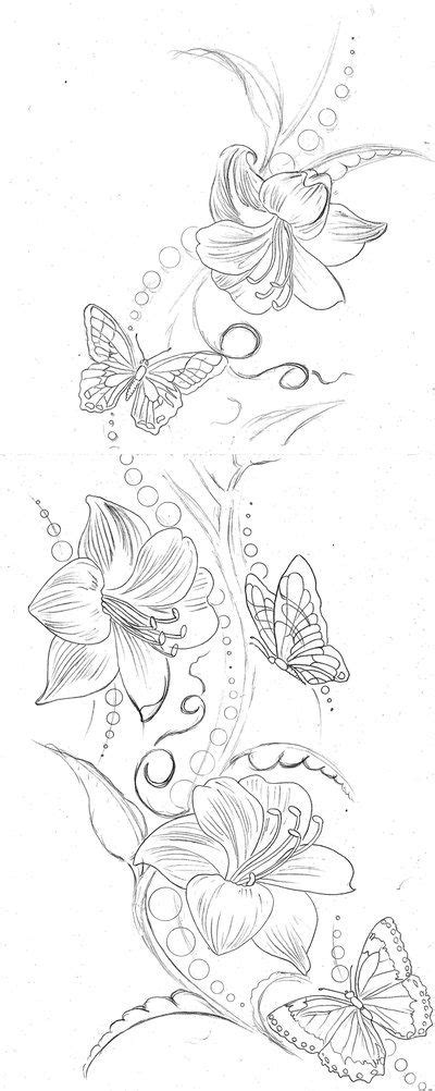 lily  butterfly tattoos ideas