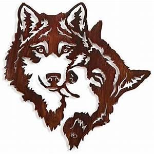 Wall Art Designs: Rustic Metal Wall Art Devoted Wolves
