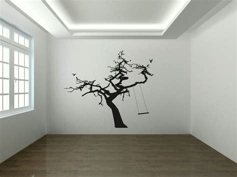wall mural decals uk tree rope swing