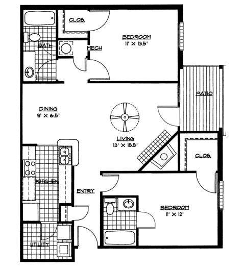 home design dimensions simple two bedroom house plans floor with dimensions pdf