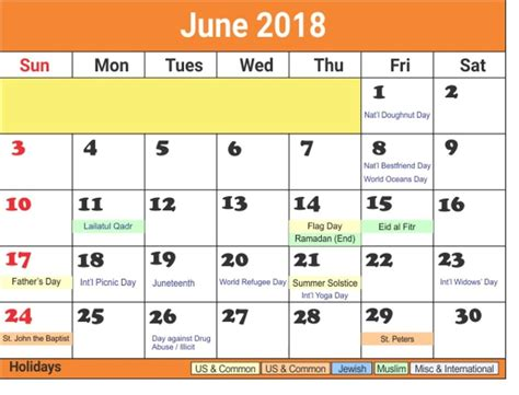 june  calendar  holidays printable  calendar