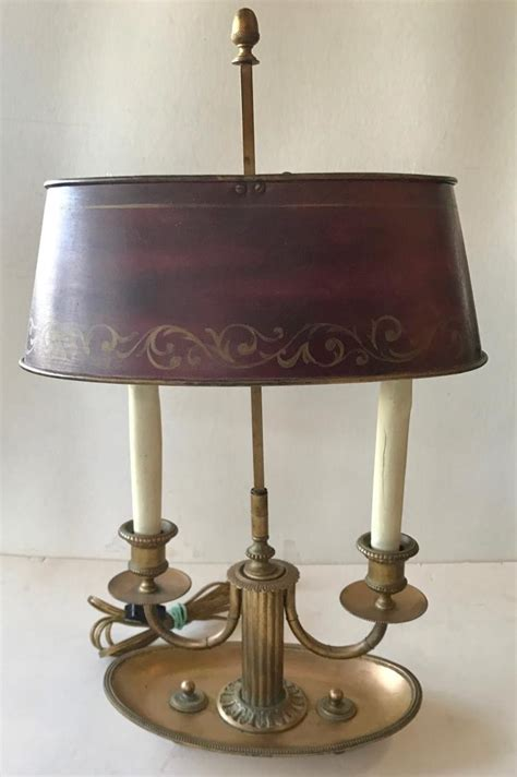 antique brass bouillotte l with tole shade