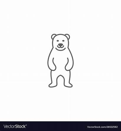 Bear Grizzly Mascot Standing Icon Simple