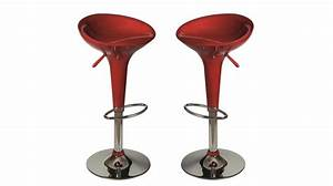 Lot De 2 Tabourets De Bar Rouge Tabouret Design Pas Cher