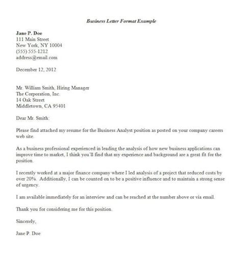 formal business letter format official letter sle