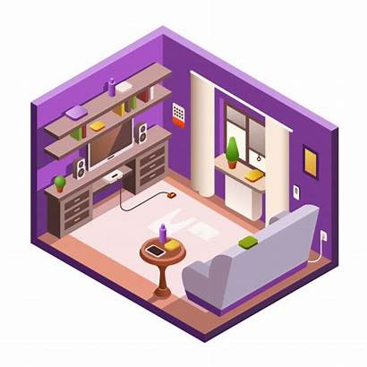 3d Isometric Living Vector Interior Section Cozy